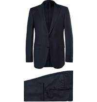 Ermenegildo Zegna Blue Slim Fit Checked Wool Suit Navy