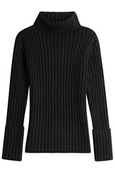 Valentino Ribbed Turtleneck With Wool And Cashmere Black