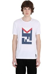 Fendi Monster Ff Leather Patch Cotton T Shirt