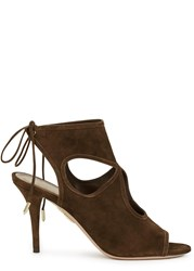 Aquazzura Sexy Thing Chocolate Suede Sandals Brown