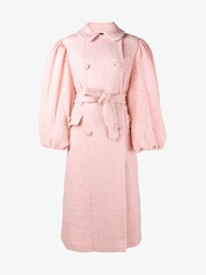 Simone Rocha Oversized Sparkle Wool Blend Coat Pink