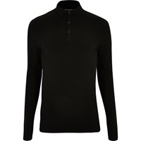River Island Mens Black Muscle Fit Long Sleeve Polo Shirt