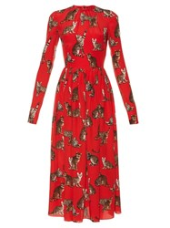 Dolce And Gabbana Cat Print Silk Midi Dress Red