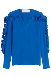 Victoria Beckham Ruffled Silk Blouse Blue
