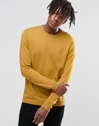 Asos Crew Neck Jumper In Yellow Cotton Yellow Gold
