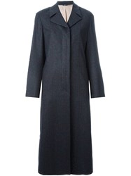 Jil Sander Navy Checked Buttoned Coat Grey