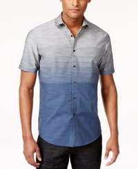 Inc International Concepts Men's Zeddie Ombre Stripe Short Sleeve Shirt Only At Macy's Blue