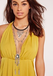 Missguided Statement Layered Necklace Grey