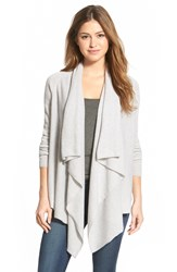 Halogen Wool And Cashmere Drape Front Cardigan Regular And Petite Heather Light Grey