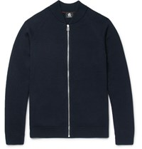 Paul Smith Ps By Merino Wool Zip Up Cardigan Navy