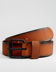 Asos Leather Belt With Burnished Edges Brown