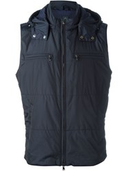 Eleventy Hooded Zip Gilet Blue