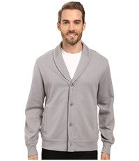 Perry Ellis Shawl Button Front Mix Media Cardigan Frost Gray Men's Sweater