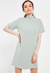 Missguided Petite Sage Green Scuba T Shirt Dress