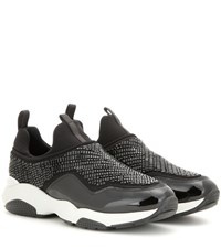 Salvatore Ferragamo Giolly Embellished Leather Sneakers Black