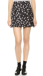 Band Of Outsiders Raspberries Pleated Miniskirt Black White