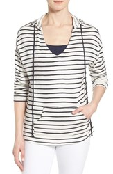 Women's Gibson Stripe V Neck High Low Hoodie