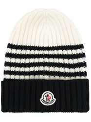 Moncler Striped Knitted Beanie Hat Blue