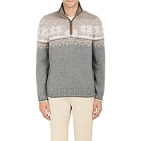 Fioroni Women's Fair Isle Wool Blend Half Zip Sweater Tan