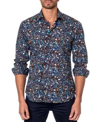 Jared Lang Floral Print Sport Shirt Black Pattern