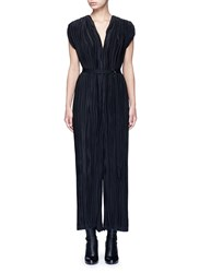 Tome Pleated V Neck Jumpsuit Black