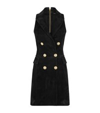 Balmain Double Breasted Tuxedo Suede Dress Female Black