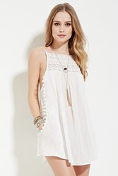 Forever 21 Boho Me Crocheted Mini Dress White