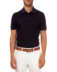 Berluti Polo With Leather Detail Navy