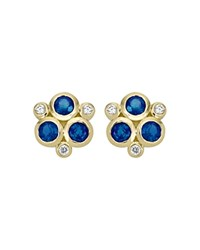 Temple St. Clair 18K Yellow Gold Classic Triple Stone Earrings With Blue Sapphires And Diamonds Blue Gold