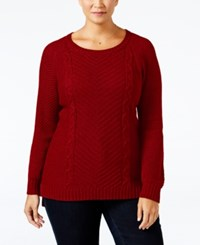 Ny Collection Plus Size Cable Knit Sweater Red Fox