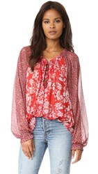Free People Hendrix Printed Blouse Red