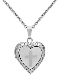 Macy's Children's Mother Of Pearl Cross And Heart Locket In Sterling Silver 1 5 Ct. T.W.