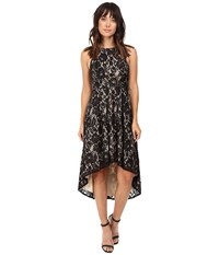 Aidan Mattox Stretch Lace Cocktail Dress With High Low Hem Detail Black Nude Women's Dress Multi