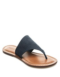 Bernardo Monica Leather Thong Sandals Navy Blue