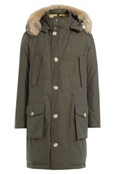Woolrich Down Parka With Fur Trimmed Hood Green