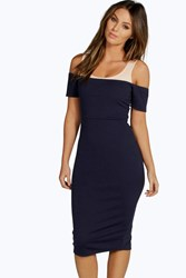 Boohoo Contrast Off Shoulder Bodycon Dress Navy