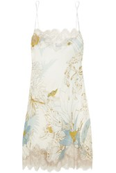 Carine Gilson Florence Lace Trimmed Printed Silk Chemise Sky Blue