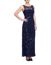 Tahari By Arthur S. Levine Sequined Sleeveless Gown Navy Blue