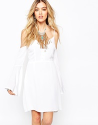 Missguided Off The Shoulder Boho Skater Dress White