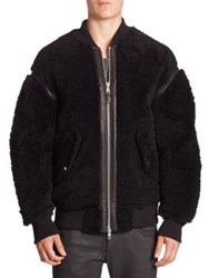 Diesel Black Gold Sheepskin Shearling Leather Oversize Zip Bomber Jacket Black