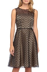 Petite Women's Tahari Chevron Burnout Organza Fit And Flare Dress Black Nude