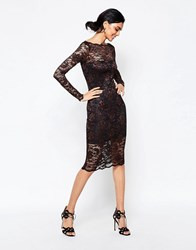 Ganni Lace Midi Dress With Scallop Hem In Black Ebony Smoked Pearl Multi