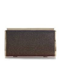Dune Brixxton Patent Hard Case Clutch Bag Metallic