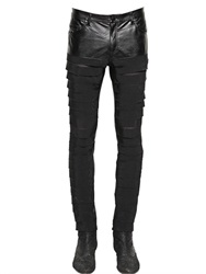 Tom Rebl 15.5Cm Canvas And Faux Leather Jeans