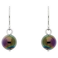 Finesse Glass Pearl Drop Earrings Green Purple 8Mm