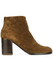 Helmut Lang Rear Zip Up Ankle Boots Brown