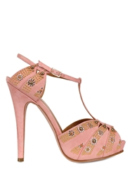 Lerre 130Mm Studded Suede T Bar Sandals Pink