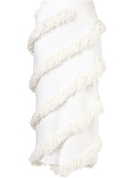 Christian Siriano Diagonal Fringe Skirt White
