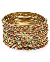 Aqua Petra Multi Textured Bangles Set Of 14 Gold