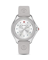 Michele Cape Topaz Studded Silicone Strap Watch 40Mm Gray